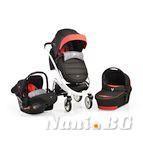 Детска комбинирана количка S-line 3 в 1 - черно / червено
