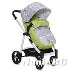 Детска комбинирана количка Rachel - зелено на фигури