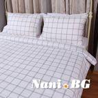 Спално бельо - Бяло и Зелено каре