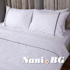Спално бельо памучен сатен - Бяло с Лента