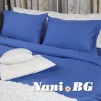 Спално бельо памучен сатен - Тъмно синьо