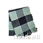 Вълнено карирано одеяло - зелено