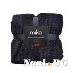 Одеяло микрофибър на вълни MiKa - черно