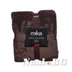 Одеяло микрофибър на вълни MiKa - тъмно кафяво