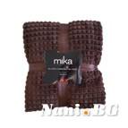 Одеяло микрофибър каре MiKa - тъмно кафяво