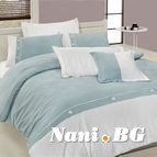 Луксозен спален комплект VIP памучен сатен - HENNA TURKUAZ