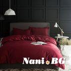 Спално бельо памучен сатен - бордо