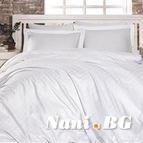 Луксозен спален комплект памучен сатен, жакард - CARLO BEYAZ