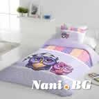 Единично спално бельо ранфорс - Бухалчета