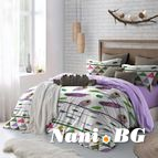 Спално бельо - Лилави пера