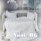 Бебешко спално бельо памучен сатен - Маймунки с бродерия бели