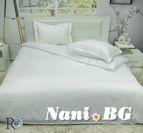 Спално бельо памучен сатен Сатенирано Райе - Бяло