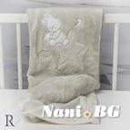 БЕБЕШКО одеяло с апликация - Доди бежово