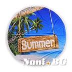 Плажна кърпа с ресни DF печат Ф150 - Палмово лято
