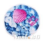 Плажна кърпа с ресни DF печат Ф150 - Розова мида