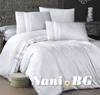 Луксозен спален комплект памучен сатен Deluxe - NEW TREND BEYAZ