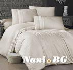 Луксозен спален комплект памучен сатен Deluxe - NEW TREND KREM