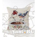 Испанска декоративна възглавница с цип - ПТИЧКИ