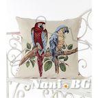 Испанска декоративна възглавница с цип - ПАПАГАЛИ