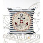 Испанска декоративна възглавница с цип - КОТВА СИНЬО