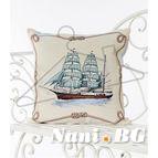 Испанска декоративна възглавница с цип - КОРАБ