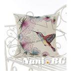 Испанска декоративна възглавница с цип - КОЛИБРИ