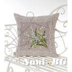 Испанска декоративна възглавница с цип - БЯЛО ЦВЕТЕ