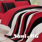 Спално бельо от 100% памук с плетено одеяло - RED STRIPES