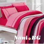 Спално бельо от 100% памук с плетено одеяло - PINK STRIPES