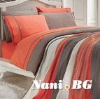 Спално бельо от 100% памук с плетено одеяло - ORANGE STRIPES