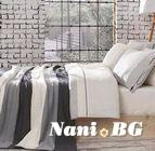 Спално бельо от 100% памук с плетено одеяло - GRAY STRIPES