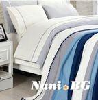 Спално бельо от 100% памук с плетено одеяло - BLUE STRIPES