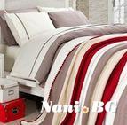 Спално бельо от 100% памук с плетено одеяло - BEIGE STRIPES