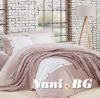Спално бельо памук в комплект с плетено одеяло - PUDRA