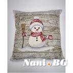 Коледна калъфка за възглавница с цип - СНЕЖКА