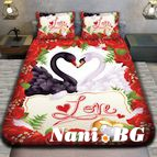 3Dспално бельо Романтични - Лебеди