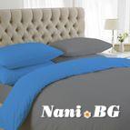 двуцветно спално бельо - сиво тюркоаз