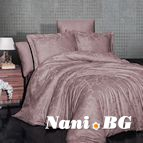 Луксозен спален комплект памучен сатен, жакард - SARAI PUDRA