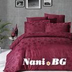 Луксозен спален комплект памучен сатен, жакард - CLOVER BORDO