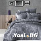 Луксозен спален комплект памучен сатен, жакард - CLOVER GRY