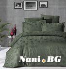 Луксозен спален комплект памучен сатен, жакард - CLOVER HAKI