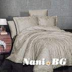 Луксозен спален комплект памучен сатен, жакард - SARAL BEJ
