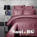 Луксозен спален комплект памучен сатен, жакард - SIRAY VISNE