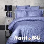 Луксозен спален комплект памучен сатен, жакард - SIRAY INDIGO