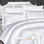 Луксозен спален комплект памучен сатен, жакард - MISRA BEYAZ