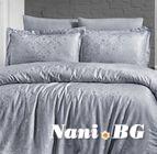 Луксозен спален комплект памучен сатен, жакард - LAMONE GRI