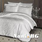 Луксозен спален комплект памучен сатен, жакард - LAMONE KREM