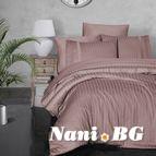 Луксозен спален комплект памучен сатен Deluxe - NEW TREND PUDRA