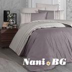 Луксозен спален комплект памучен сатен Deluxe - SQUARE DUET Leyl