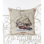 Испанска декоративна възглавница с цип - ЧЕРВЕН КОРАБ